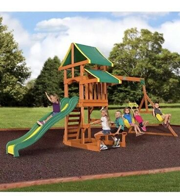369ca9ea7276 Swing Set Tucson Cedar Wooden Outdoor Playground Playset Backyard Discovery  Kids