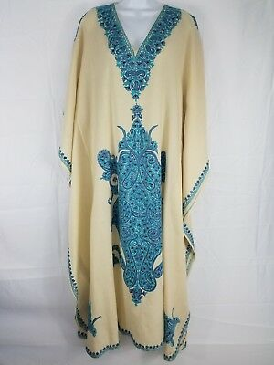 Vintage African White And Blue Kaftan hand stitched/embroidered
