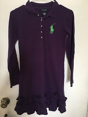 Euc Girls Purple Ralph Lauren Polo Dress Sz Large