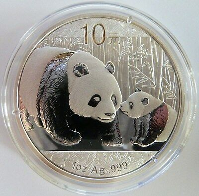 2011 Silver Chinese Panda 1 oz .999 Silver China 10 Yuan capsulated UNC