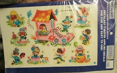Vtg Meyercord Decalart Water Lied Decals Nursery Rhymes Woman In A Shoe 1981
