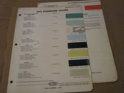 Original 1955 Studebaker Colors - DuPont Paint Chip Chart