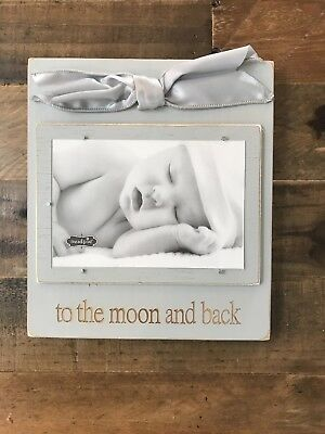 "NEW Mud pie Gray ""to The Moon And Back"" Wooden Frame"