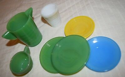 Akro Agate Child's 7 pcs Green Pitcher,Tumbler,Cup,Saucers,Plates,Mark on bottom