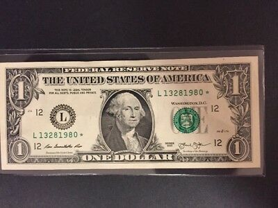 One Dollar Star Note With Ink Error