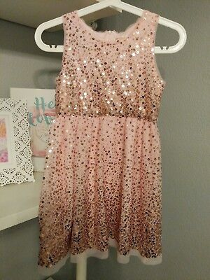 Cat & jack Girls Pale Pink With Gold Sequin Dress, Size M (7/8)