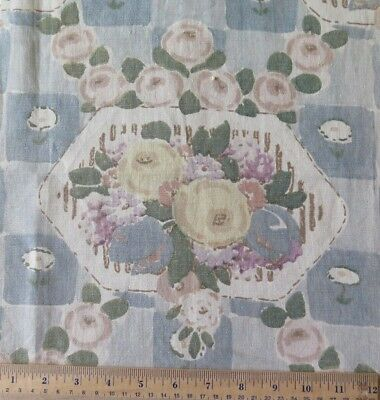 "Vintage Antique French Art Deco 1926 Blue Linen Floral Home Fabric~L-30"" X W-23"""
