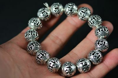 Tibet Silver Hollow 14MM ball beads Bracelet   F88