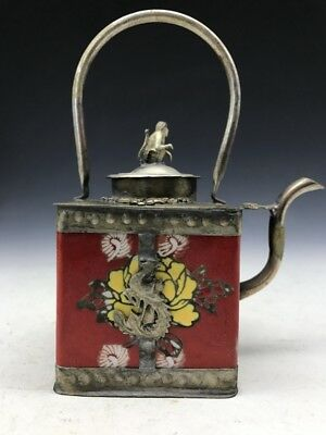 Ancient Chinese pure copper teapot painted floral patterns