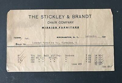 1916 Billhead Invoice Stickley & Brandt Chair Co Mission Furniture Binghamton NY