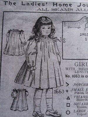 Antique Sewing Pattern- Girls Dress-1918     #1663