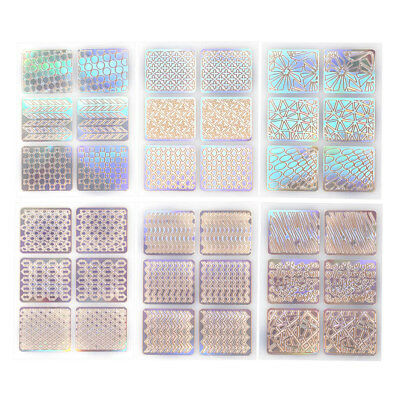 24pcs Nail Art Manicure Stickers Hollow Grid Stencil Stamping Template Tools GW