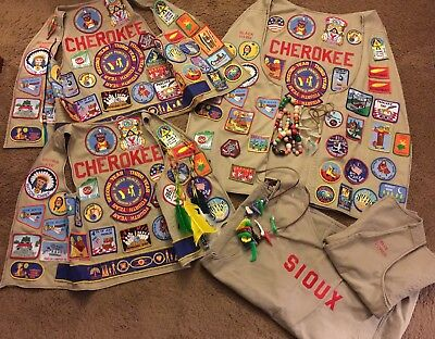 Lot Of YMCA Y INDIAN PRINCESS VESTS With 125 Patches Father/daughter