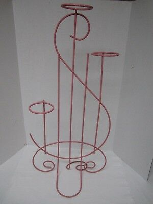 "VINTAGE PINK WROUGHT IRON METAL PLANT STAND/TOWEL HOLDER 33"" Tall - Music Note"