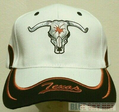 76fbeb560fa New Embroidered Tx Texas State Longhorns Long Horns Skull Cow Bull Cap Hat  White