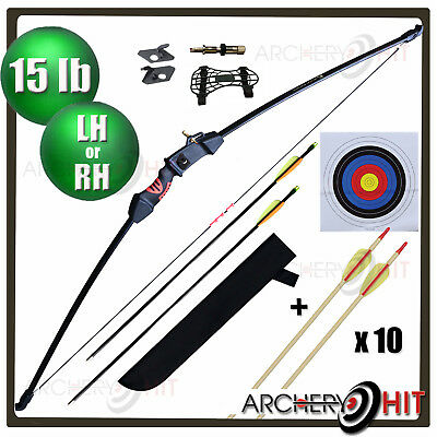 "46"" Youth Archery Set Junior Kids Longbow / Recurve 15 lb Pack"