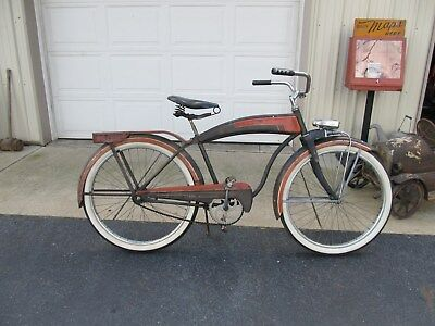 Vintage 1950's Evans Colson Commander Mens Balloon Tire Tank Bicycle