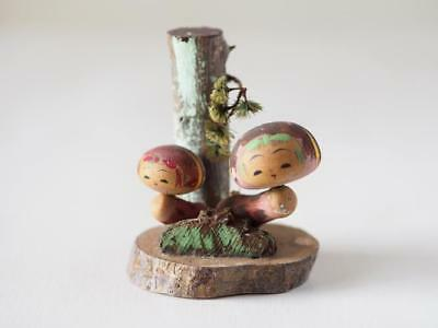 Kokeshi Japanese traditional craft cute mushrooms vintage retro beauty F / S!