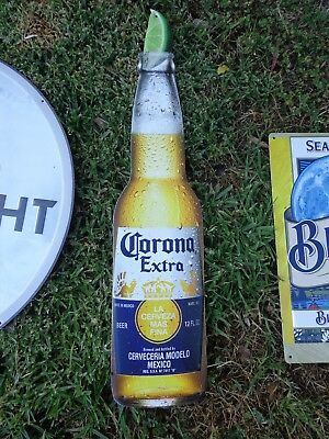 American Metal Embossed Beer Sign  Corona Extra Bottle