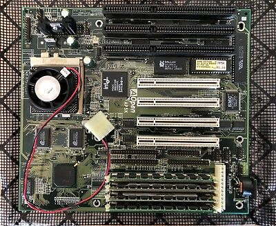 AOpen AP5K Intel 430HX Socket 7 Vintage AT Motherboard with CPU and memory.
