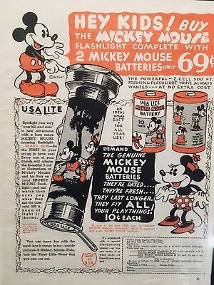 FRAMED VINTAGE 1930s DISNEY MICKEY MOUSE USA LITE FLASHLIGHT AND BATTERIES AD
