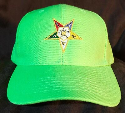 Embroidered Neon Green Order Of The Eastern Star Baseball Cap - OES