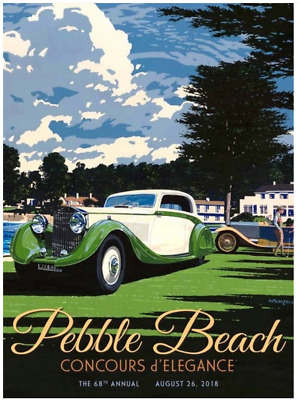 2018 Pebble Beach Concours Poster ROLLS-ROYCE NEW!!