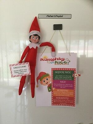 Handmade Xmas Elf Accessories/Naughty/Nice Peg Chart Compatable Elf on the Shelf