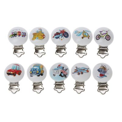 5Pcs/Lot Baby Pacifier Clips Mixed Printed Wood Metal Holder Clasps 4.4cm x 3cm