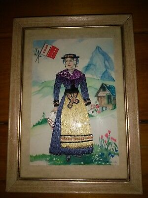 Needlepoint Scene of Woman Mountain Flag Flowers Cabin Dated 1967 Framed w Glass