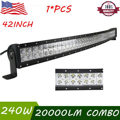 "42INCH 240W CREE Curved LED Light Bar Flood Spot Combo Offroad Truck 4WD 44"" 50"