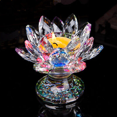 1pc Crystal Glass Lotus Candlestick Butter Lamp Holder For Buddha Candlestick