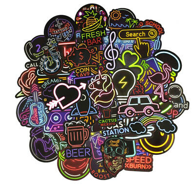 50Pcs Neon Light Signs Waterproof Stickers for DIY Luggage Laptop Skateboard