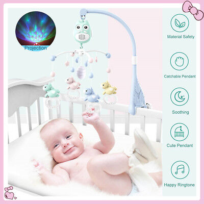 Soothing Music Baby Musical Crib Bed Cot Mobile Stars Dream Light Nusery Lullaby