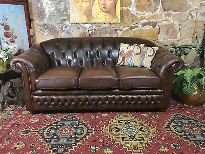 Vintage Chesterfield Leather Gasciogne 3 Seater Lounge Chair~Sofa
