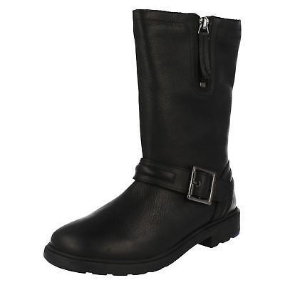 Girls Clarks Ines Spot Mid Calf Length Biker Chick Boots