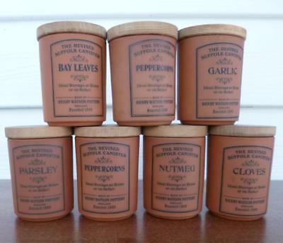7 Original Henry Watson Terracotta  Spice Container With Wooden Lid