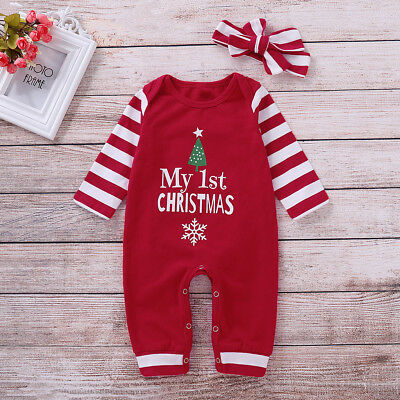 122abb2aa Newborn Baby Girl Christmas Jumpsuit Romper Bodysuit Headband Outfit  Clothes Set