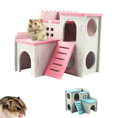 Roller hamster chalet Small pet Double-Deck Chinchilla wooden toy platform house