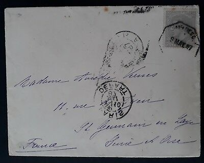 RARE 1887 Spain Cover ties 25c Alfonso XII Telegraph stamp to Paris