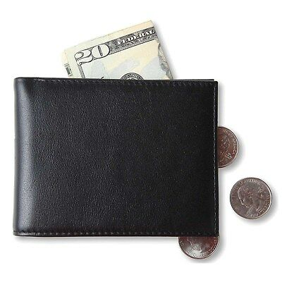 Men Slim Front Pocket Wallet Real Leather Bifold Trifold Wallet RFID Blocking