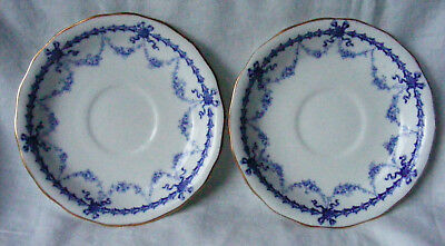 Antique Royal Crown Derby 1896 Two Saucers (2) Blue Garland Swag Bells 4680 vgc