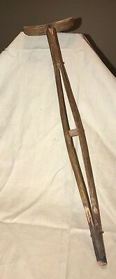 Extremely Rare Hand-Carved Prototype Oak Miniature Crutch w Metal Fasteners 1920