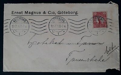 1914 Sweden Cover ties 10 öre red King Gustaf V stamp cnc Göteborg to Tanumshede