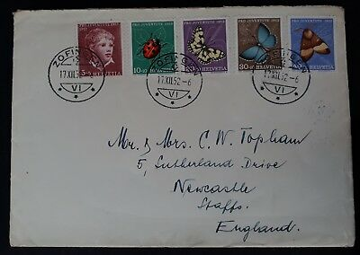 SCARCE 1952 Switzerland Cover ties set of 5 Pro Juventute 40th Anniv stamps