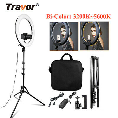 "18"" inch Bi-Color LED Ring Light Dimmable Continuous Lighting Photo Video Kits"