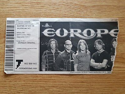 EUROPE entrada ticket Live in Barcelona 2004 ORIGINAL