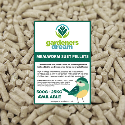 GardenersDream Mealworm Suet Pellets - High Energy Feed Wild Bird Garden Food