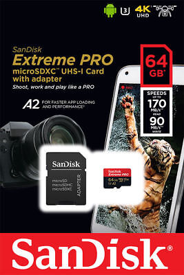 NEW SanDisk Extreme Pro micro SD XC 64GB Class 30 4K U3 A1 170MB/s UK NEXTDAY D