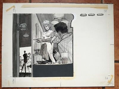 Original art Mens Adam Magazine pulp 50's on board